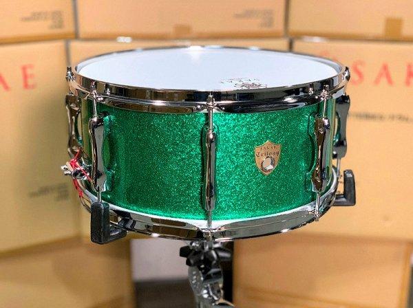 Sakae Trilogy 14x6.5 Snare Drum - Green Sparkle 1.jpg