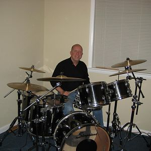 Me behind my blackrome 1975 Slingerlands.