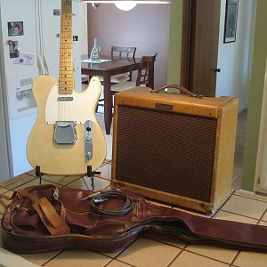 Fender 1955 Tele and Deluxe amp, real and MINTY