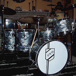 "1965 Ludwig Sky BLue Pearl Downbeat Kit w/Added 16"" FT"