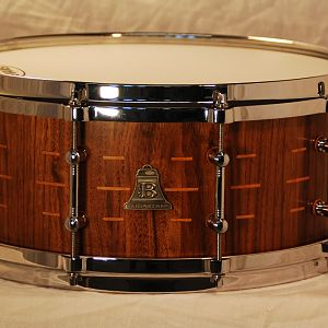 "14X6X1/4"" walnut stave w/beech keys and maple re-rings"