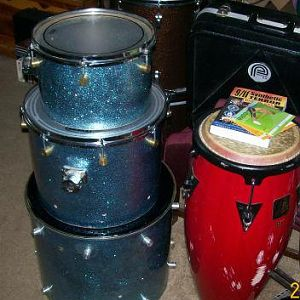 "A drummer's kit, 18"" bass drum."