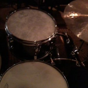Slingerland Galaxy Sparkle 20/12/5x14snare set (view from behind the set) S&SC Wedding at Hotel Monaco