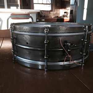 "1920's Ludwig Standard All-round model, nickel over brass, 5x14""."